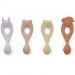 """Liewood lot de 4 cuillères bébé silicone """"Liva"""", lavande"""