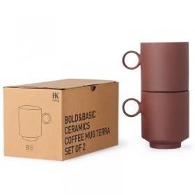 HK Living 2 tasses terracotta, bold & basic ceramics
