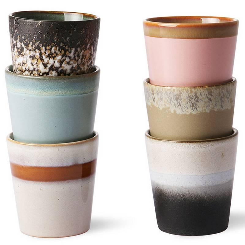 HK Living 6 mugs céramique 70' - new