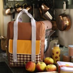 "STICKY LEMON sac à dos ""gingham"", large : chocolat, jaune, mauve"