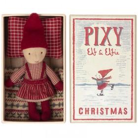 Petite poupée lutin de Noël dans sa boîte d'allumette