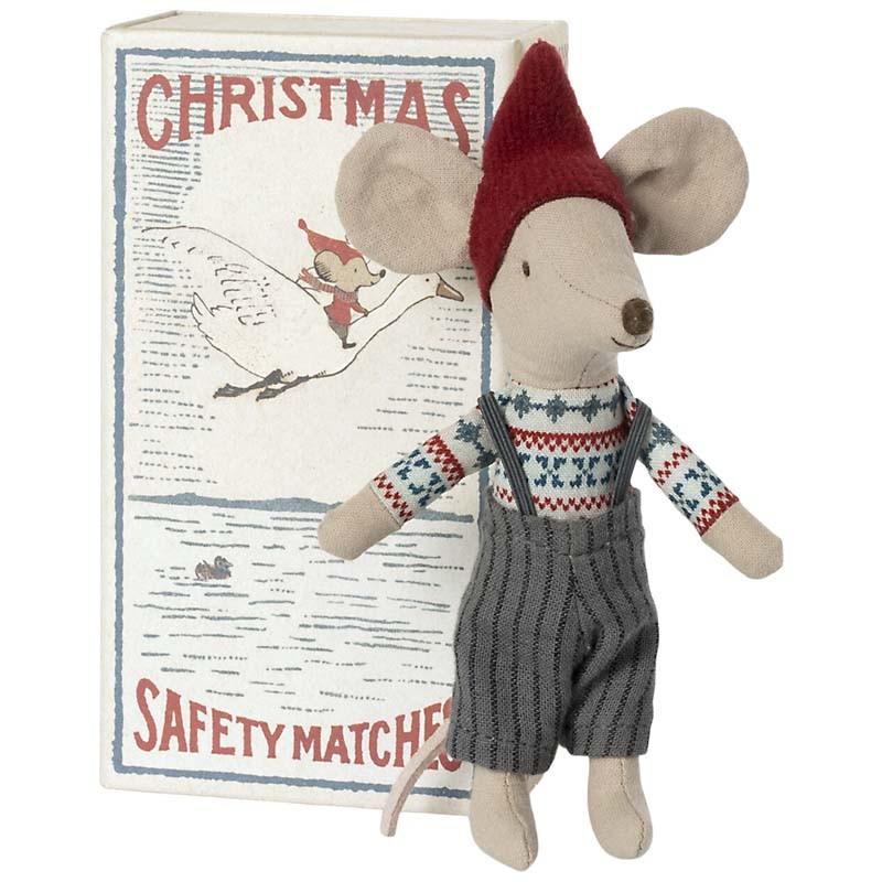 poupée souris lutin de Noël dans sa boîte d'allumettes
