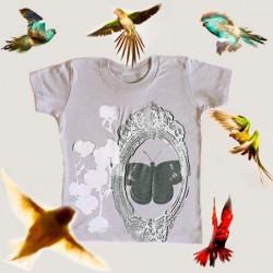 shirin kids t-shirt fille bio papillon & fleur de coton