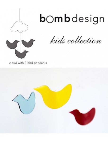 BOMBDESIGN - Mobile and pendants *3 birds and a cloud*
