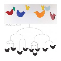 BOMBDESIGN - Mobile of 7 birds pendants and 2 clouds
