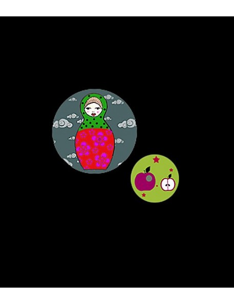 Georges&Rosalie - Set of 2 badges Matryoshka and apple