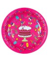 RICE - 8 Small Birthday Paper Plate - Fuchsia