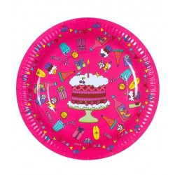 RICE - Lot de 8 Petites Assiettes d'anniversaire en carton - fuchsia