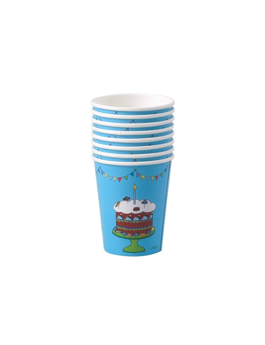 RICE - 8 Small Birthday Paper Cups - Turquoise