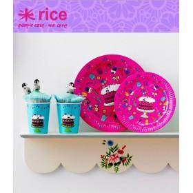 RICE - Lot de 8 Gobelets d'anniversaire en carton - turquoise