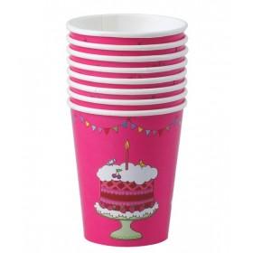 RICE - 8 Birthday Paper Cups - Fuchsia
