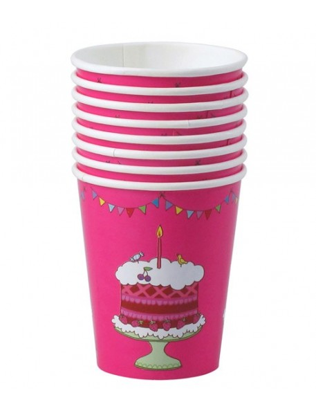 RICE - 8 Birthday Paper Cups - Fuchsia