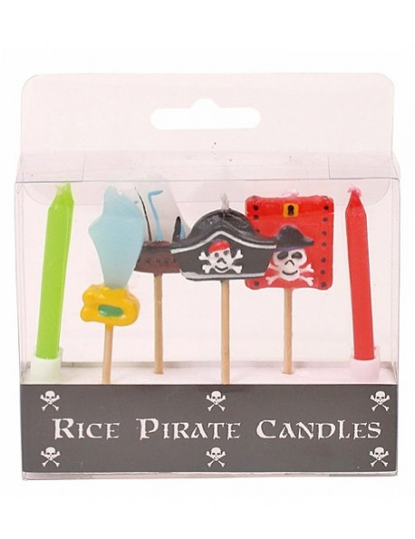 RICE - 6 Assorted Pirate Pick Candles