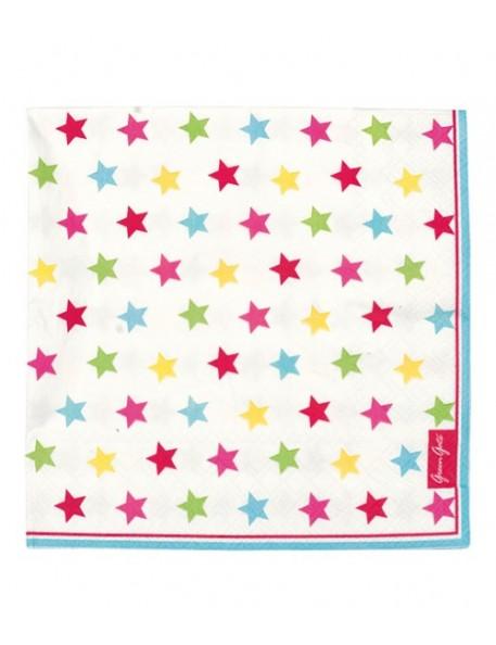 Greengate - 20 Paper Napkins - Star multicolour
