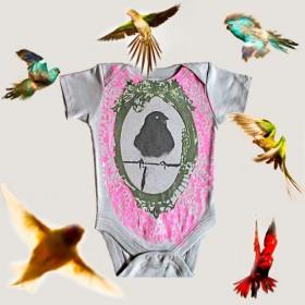 SHIRIN KIDS - Bird Onesie - organic dark grey