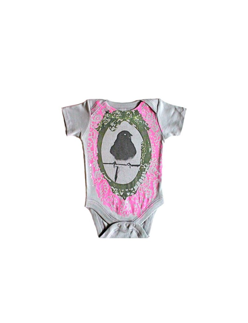 SHIRIN KIDS - Pink Bird Onesie - organic