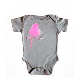 SHIRIN KIDS - Pink Bird Onesie - dark grey