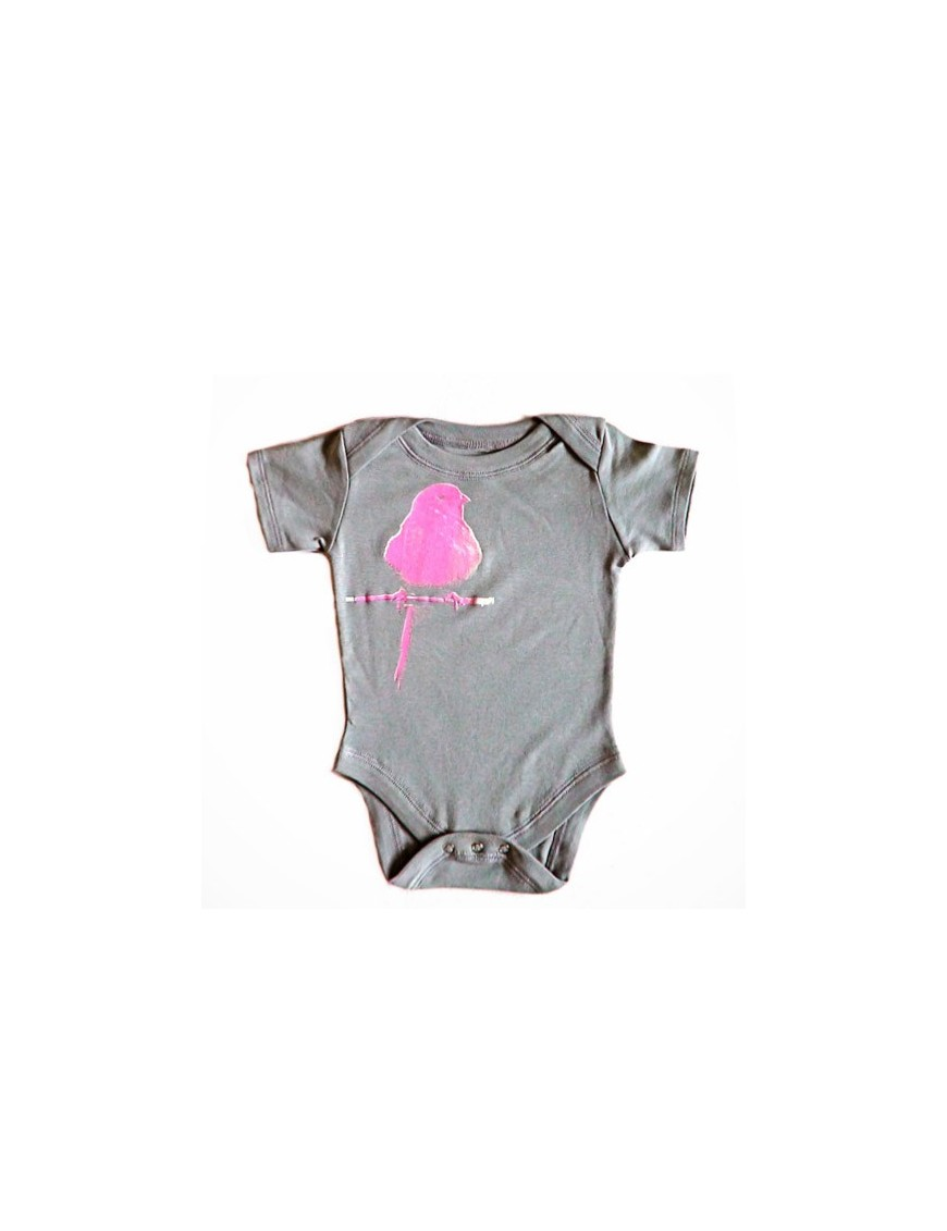 SHIRIN KIDS - Pink Bird Onesie - dark grey