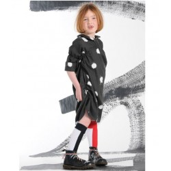 BODEBO - Black Molli Dress with White Patchs