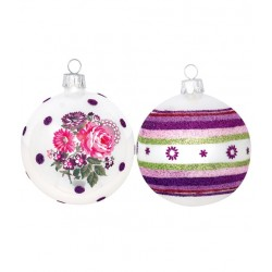 Greengate - Xmas Ball Lina/Josephine Plum - 4 Pcs