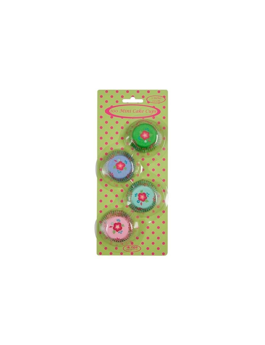 RICE - 100 Mini Moules à CupCakes - Fleur