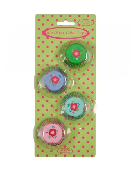 RICE - 100 Mini Cake Cups - flower