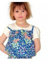 whip cream short jumpsuit - flowers on blue