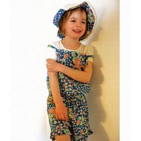 whip cream short jumpsuit - flowers on blue