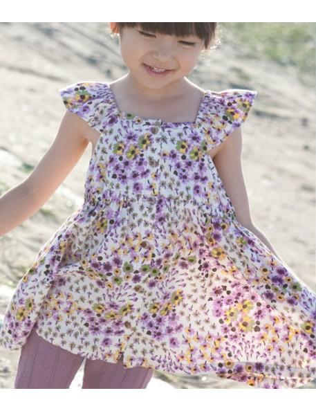 robe courte imprimée fleurs parmes whip cream