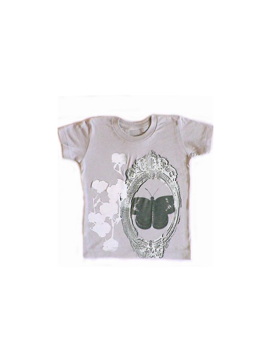 Shirin Crew tee with butterfly, mirror and cottonball prints