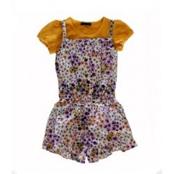 whip cream short jumpsuit - flowers on parm