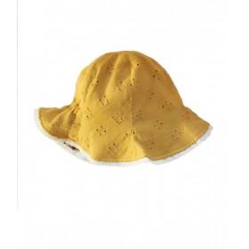 chapeau enfant réversible fleurs/ moutarde whip cream