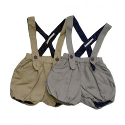 whip cream short pants with suspenders - beige