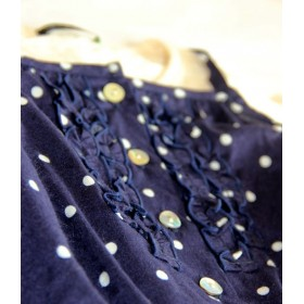 whip cream navy jumpsuit wigth dots