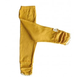 6y- whip cream leggings pants - mustard