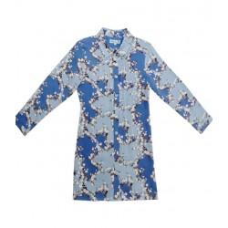little paul&joe robe chemisier liberty bleu avec ceinture cuir