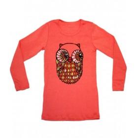 4a t-shirt fille corail avec hibou misha lulu