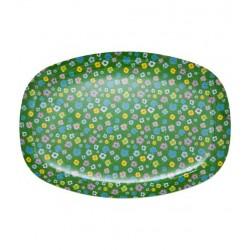 RICE - Plat ou Grande assiette en Mélamine - Fleurs multicolores fond Vert