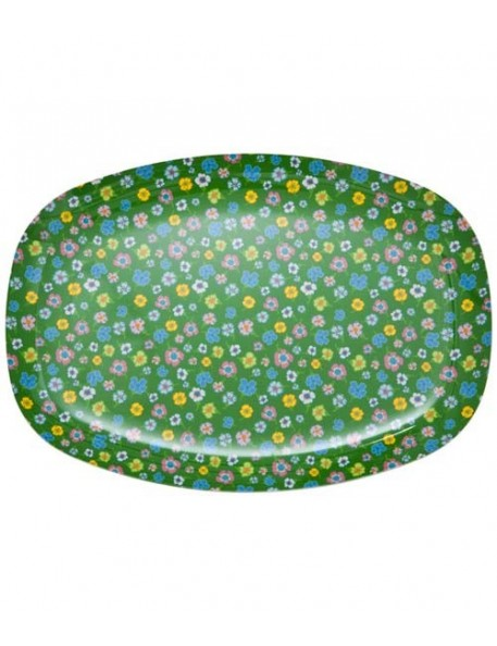 RICE - Small Tray or Rectangular Melamine Plate with Multicoloured Flowers
