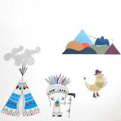 Swantje & Frieda - Tipi Stickers for boy (A3)