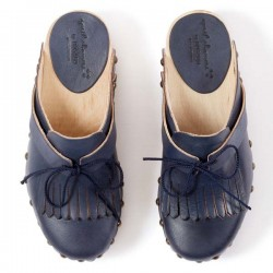 sabots cuir bleu marine mariel april showers by polder