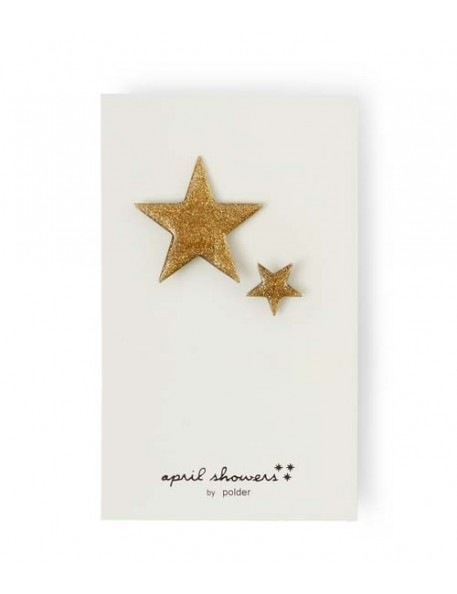 April Showers by Podler - Set oh 2 Glittery gold Star Pins
