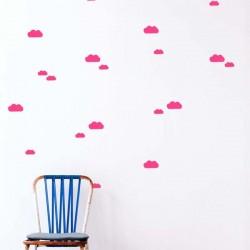 FERM LIVING - Planche de Stickers Mini Nuages - fluo rose