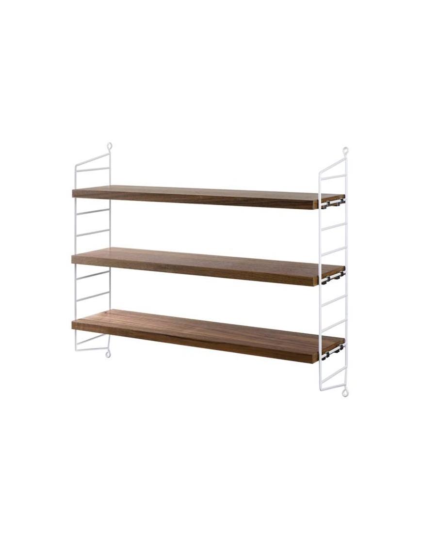 string furniture étagères string pocket blanc/noyer