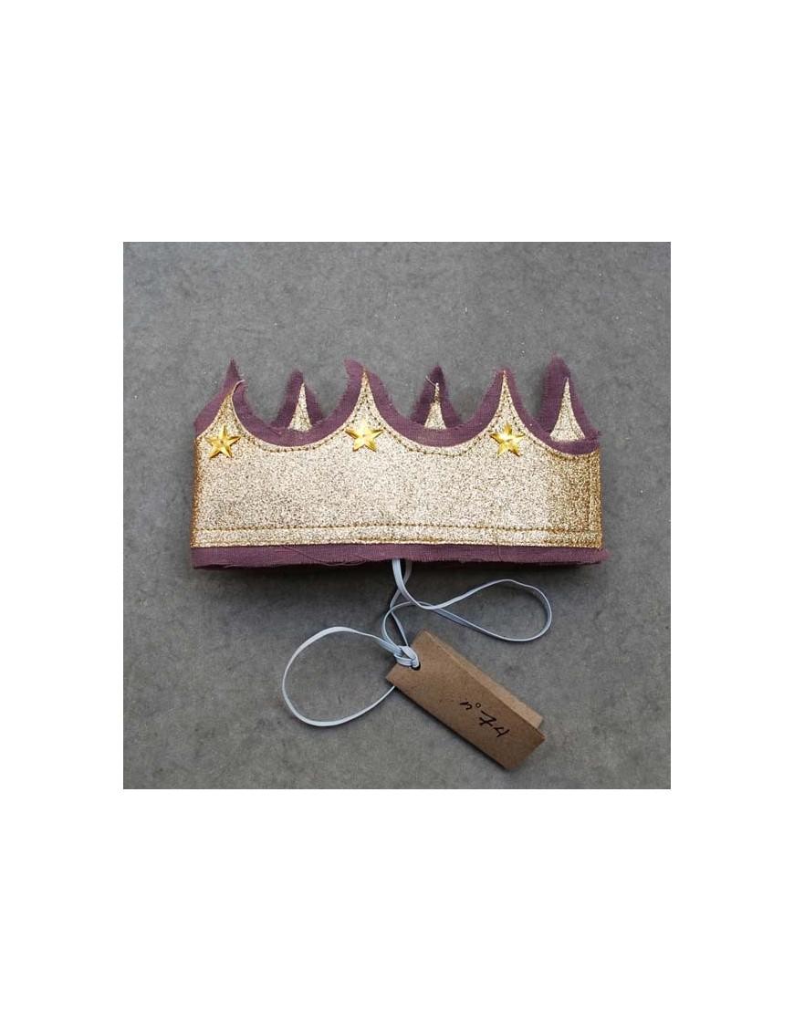 numero 74 couronne de princesse pailletée parme et or