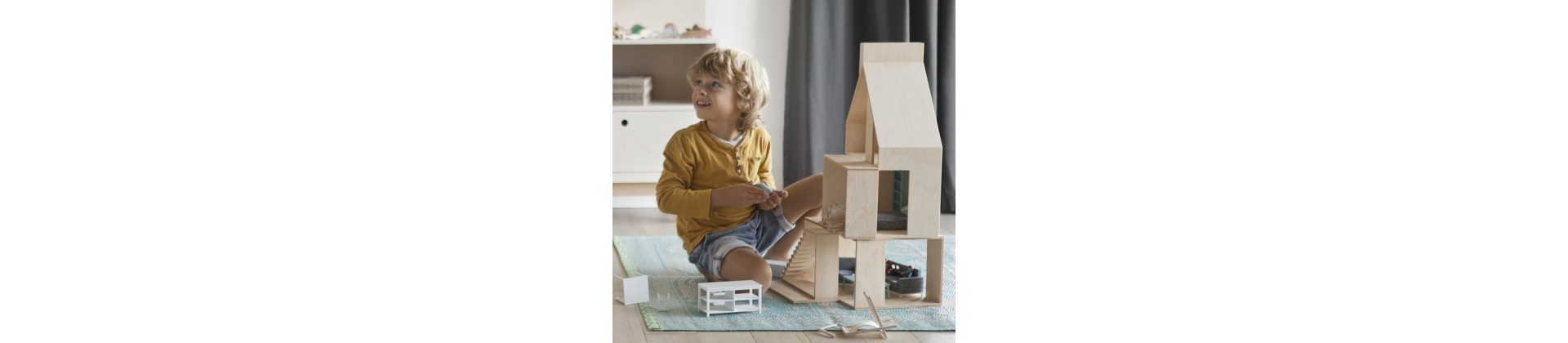 Wooden doll house & furniture